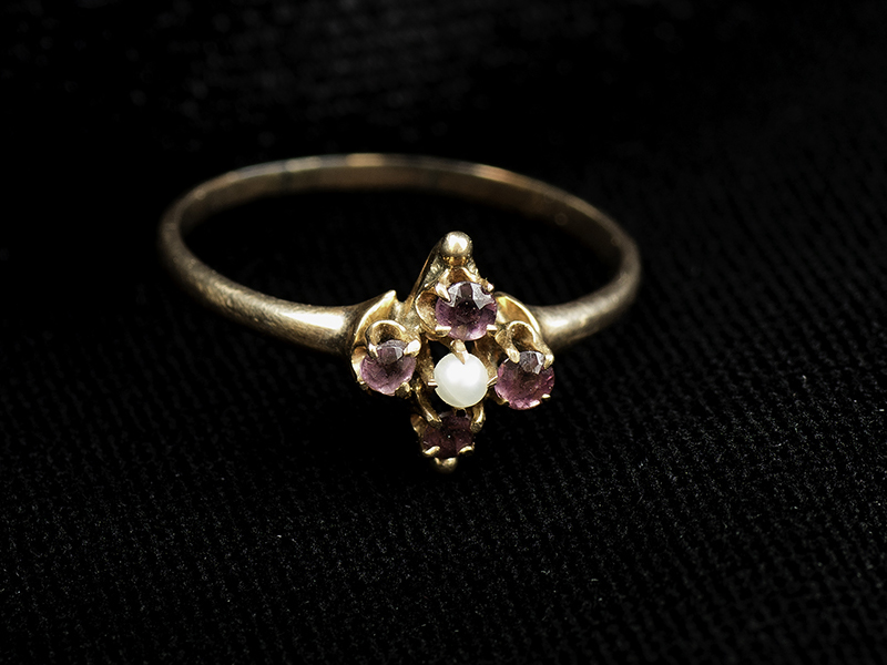 Margaret Brown's pearl and amethyst ring